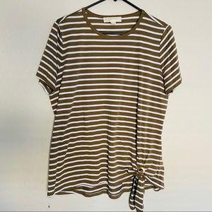 Michael Kors Olive Green White Striped Tee XL